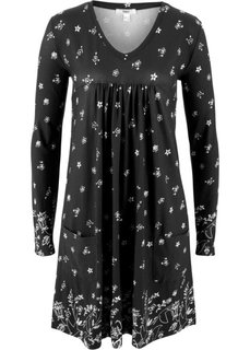 Платье с длинным рукавом (черный с рисунком) Bonprix