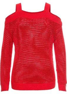 Ажурный пуловер с вырезами (клубничный) Bonprix