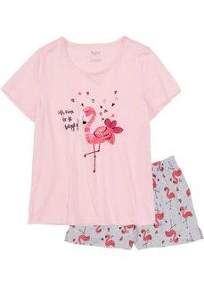 Пижама (розовый/светло-серый меланж с рисунком) Bonprix