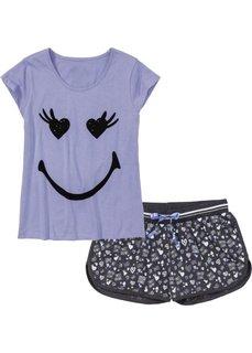 Пижама с шортами (лавандовый/антрацитовый меланж с рисунком) Bonprix