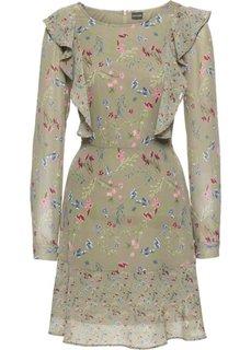 Платье из шифона (оливковый в цветочек) Bonprix