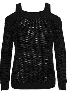Ажурный пуловер с вырезами (черный) Bonprix