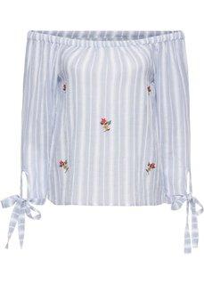 Блузка с вырезом-кармен и вышивкой (белый/нежно-голубой в полоску) Bonprix
