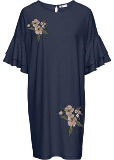 Платье из трикотажного крепа с вышивкой (темно-синий) Bonprix