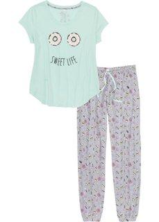Пижама (мятный/светло-серый меланж с принтом) Bonprix