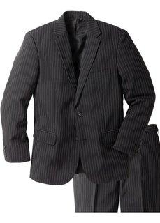 Мужской костюм Regular Fit (2 изд.), низкий + высокий рост (U + S) (черный в полоску) Bonprix