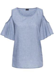 Блузка с открытыми плечами (синий «потертый») Bonprix