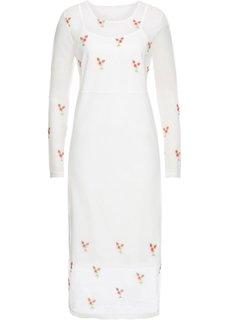 Платье из сеточки с вышивками (кремовый) Bonprix
