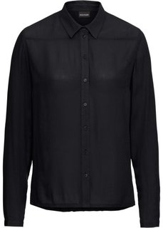 Блузка жатая (черный) Bonprix