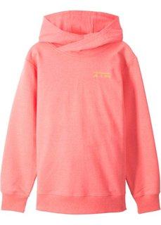 Свитшот с капюшоном (неоновый оранжевый с принтом) Bonprix