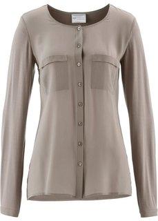 Блузка с содержанием шелка (серо-коричневый) Bonprix