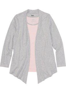 Куртка и топ из трикотажа (розовый/светло-серый меланж в полоску) Bonprix