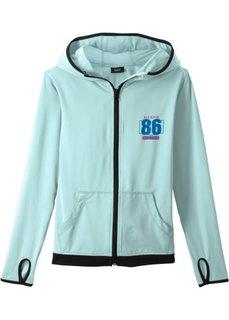 Куртка спортивная с капюшоном, вентилируемая и быстросохнущая (карибский синий) Bonprix