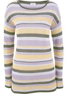 Пуловер ажурный (сиреневая фиалка/оливковый в полоску) Bonprix