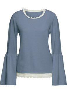 Пуловер с кружевным топом (2 изд.) (синий меланж/кремовый) Bonprix