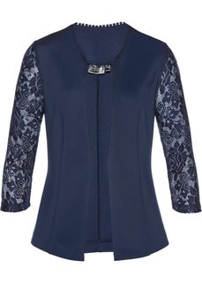 Пиджак из трикотажа с кружевом (темно-синий) Bonprix