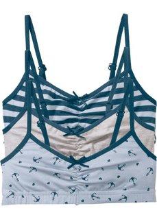Бюстье (3 шт.) (насыщенный синий/светло-серый меланж/нежно-голубой меланж) Bonprix