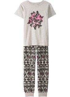 Пижама (2 изд.) (черный/ярко-розовый фламинго/натуральный меланж) Bonprix