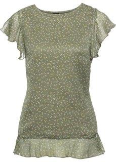 Блузка с рукавами-воланами (оливковый в цветочек) Bonprix