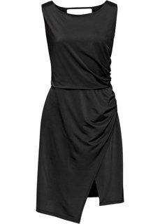 Платье из блестящего трикотажа (черный) Bonprix