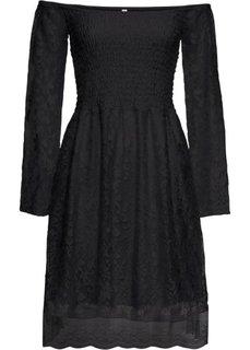 Платье из кружева с вырезом-кармен (черный) Bonprix
