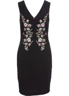 Платье из трикотажного крепа с вышивкой (черный) Bonprix
