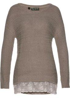 Пуловер с кружевной отделкой (серо-коричневый) Bonprix