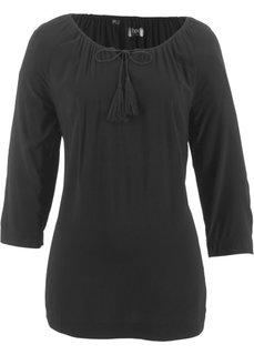 Блузка с вырезом-кармен и рукавом 3/4 (черный) Bonprix