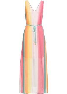 Шифоновое макси-платье с переходом оттенков (розовый/нежно-желтый/серо-зеленый в полоску) Bonprix