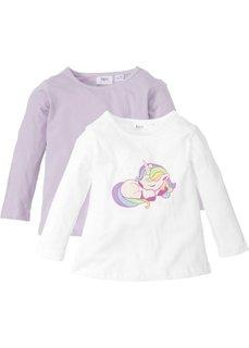 Длинная футболка (2 шт.) (белый с рисунком+сиреневый) Bonprix