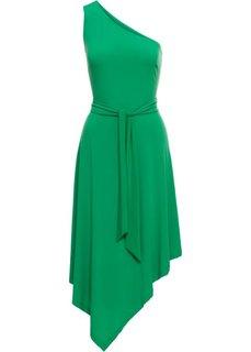 Платье на одно плечо, в талии пояс (зеленая трава) Bonprix