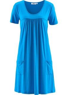 Трикотажное платье-блузон с коротким рукавом (капри-синий) Bonprix