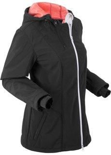 Куртка софтшелл с капюшоном и флисовой подкладкой (черный) Bonprix