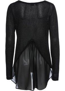 Пуловер с люрексом и шифоновой вставкой (черный металлик) Bonprix
