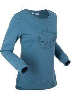 Свитшот с тиснением, длинный рукав (синий) Bonprix