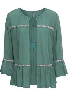 Блузка с лентами для завязывания (зеленый) Bonprix