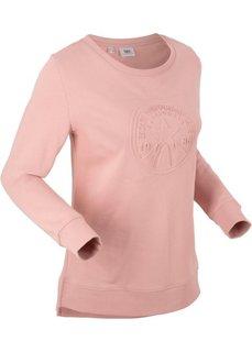 Свитшот с тиснением, длинный рукав (розовый) Bonprix