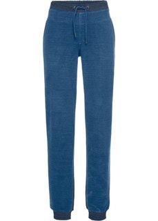 Брюки спортивные, передняя часть из денима (темно-синий меланж/синий джинсовый) Bonprix