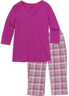 Пижама-капри (ярко-розовый в клетку) Bonprix