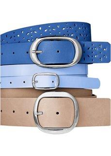 Ремень (3 в наборе) (серо-коричневый/кобальтовый/голубой/светло-серый) Bonprix