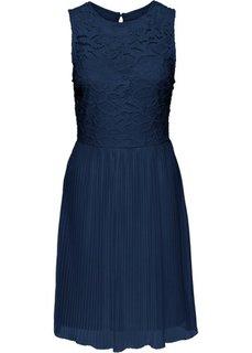 Платье с плиссированной юбкой и кружевом (темно-синий) Bonprix