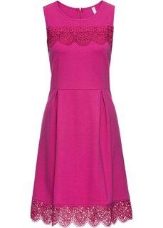 Платье с кружевными деталями (ярко-розовый) Bonprix