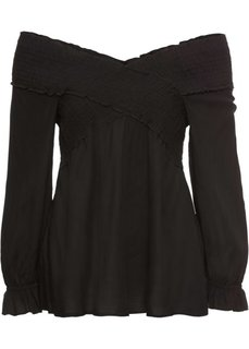 Блузка-кармен с эластичной вставкой (черный) Bonprix