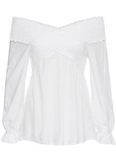 Блузка-кармен с эластичной вставкой (кремовый) Bonprix