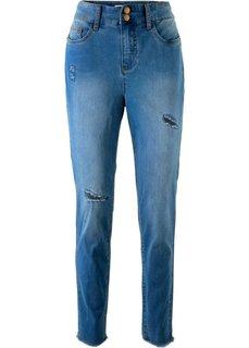 Джинсы высокой посадки, с потертостями, дизайн Maite Kelly (синий «потертый») Bonprix