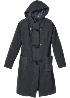 Шерстяное пальто с капюшоном (серый меланж) Bonprix
