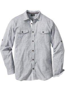 Рубашка Regular Fit с длинным рукавом (дымчато-серый меланж) Bonprix