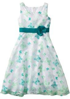 Нарядное платье с нежным принтом в виде роз или бабочек, XXL (белый/изумрудный бабочки XXL) Bonprix