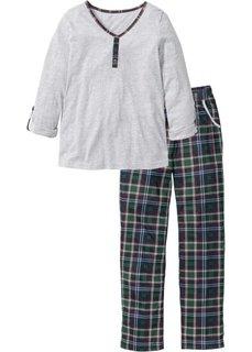Пижама (светло-серый меланж в клетку) Bonprix