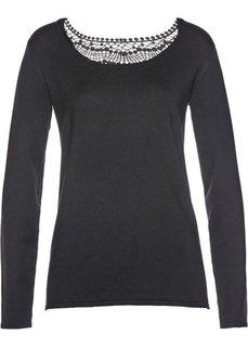 Пуловер с кружевной отделкой (черный) Bonprix